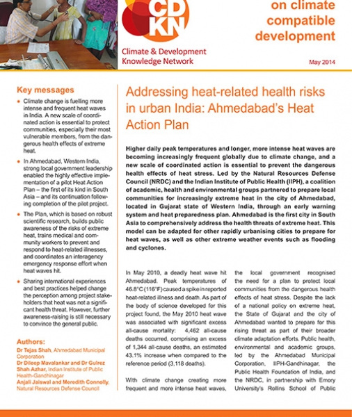 Addressing heat-related health risks in urban India: Ahmedabad's Heat Action Plan