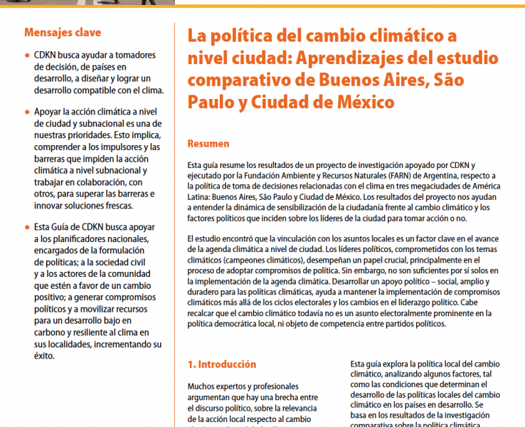 La política del cambio climático a nivel ciudad: Aprendizajes del estudio comparativo de Buenos Aires, São Paulo y Ciudad de México