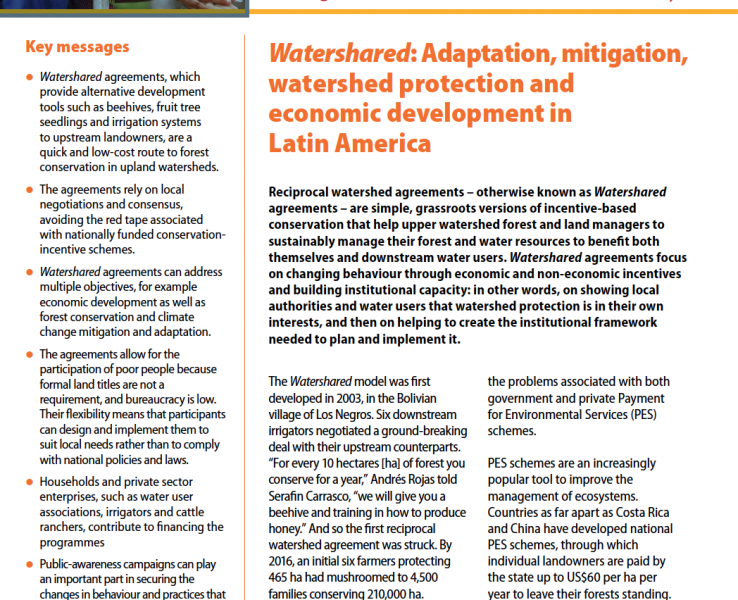 Watershared: Adaptation, mitigation, watershed protection and economic development in Latin America