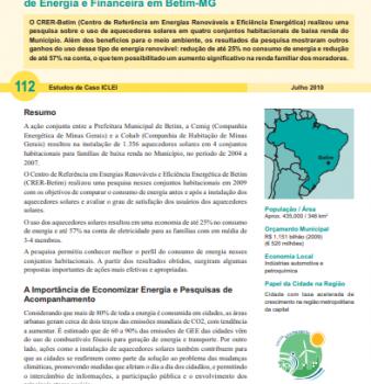Estudo de Caso #112: Aquecedores Solares em Conjuntos Habitacionais de Baixa Renda: Economia de Energia e Financeira em Betim-MG