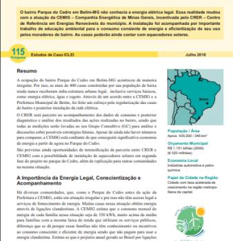 Estudo de Caso #115: CEMIG leva Energia Elétrica à Comunidade de Baixa Renda com Apoio do CRER-Betim