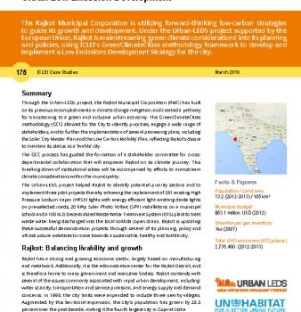 ICLEI case study 175 Rajkot, India – Enhancing 'Livability' through Urban Low Emission Development
