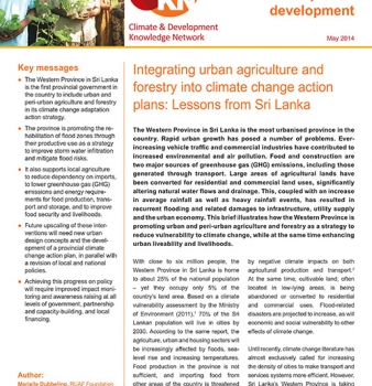Integrating urban agriculture and forestry into climate change action plans: Lessons from Sri Lanka