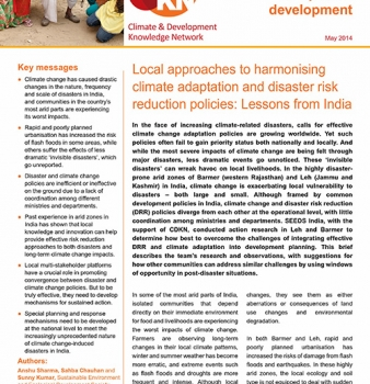 Local approaches to harmonising climate adaptation and disaster risk reduction policies: Lessons from India