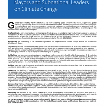 The Nantes Declaration of Mayors and Subnational Leaders on Climate Change