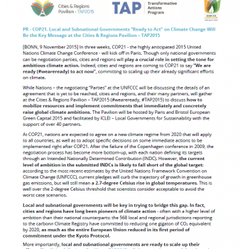 Press Release. Cities & Regions ready to scale up climate action